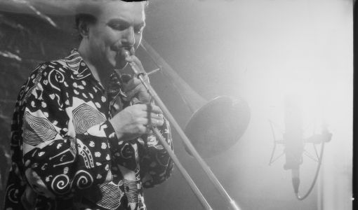 Hugo trombone on stage